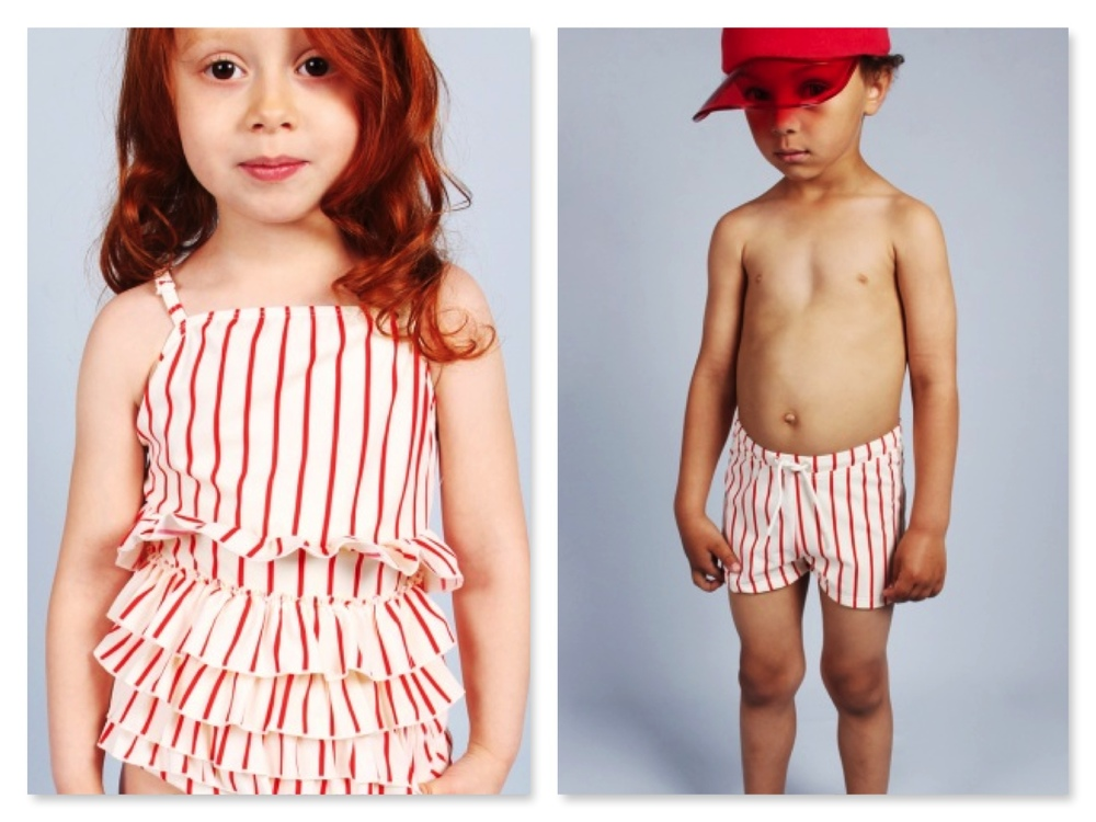 Frill Swimsuit & Stripe Swim Shorts... Same Same and So Cute!