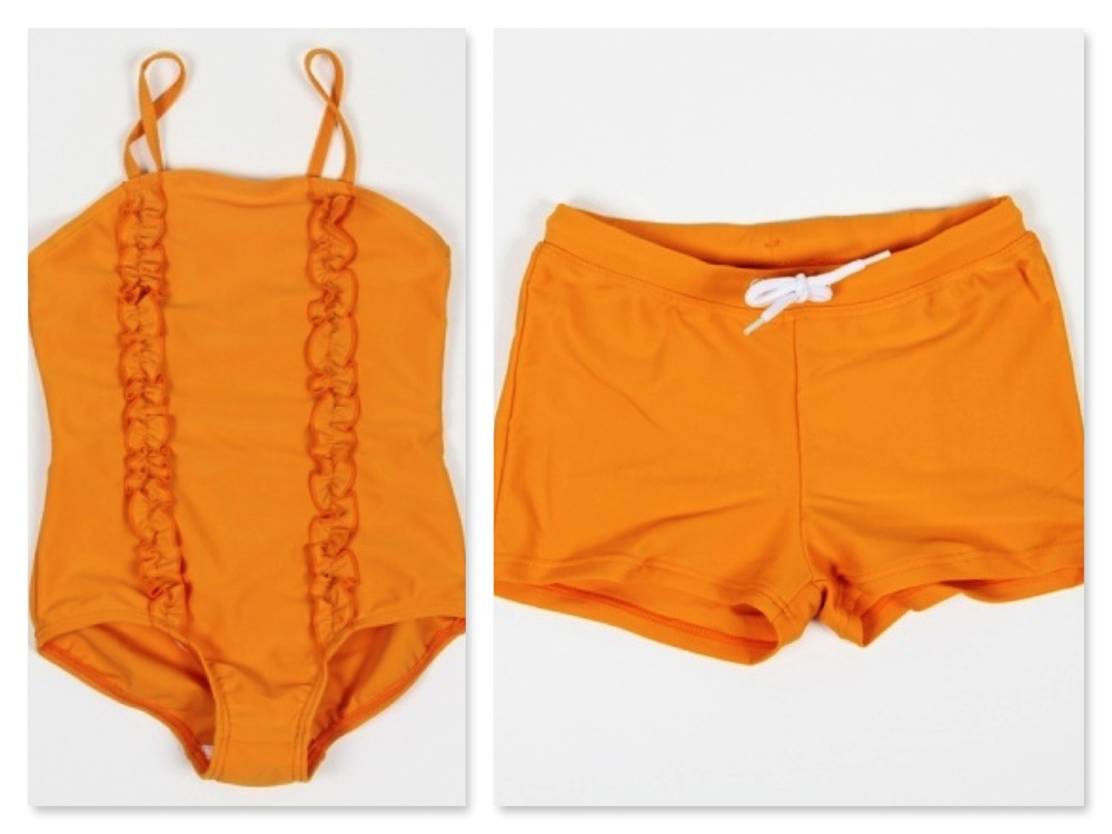 Mini Rodini girls SIRMIONE SWIMSUIT ORANGE with two frills at front ($29.00) and boys SWIM PANTS ORANGE ($19.00).