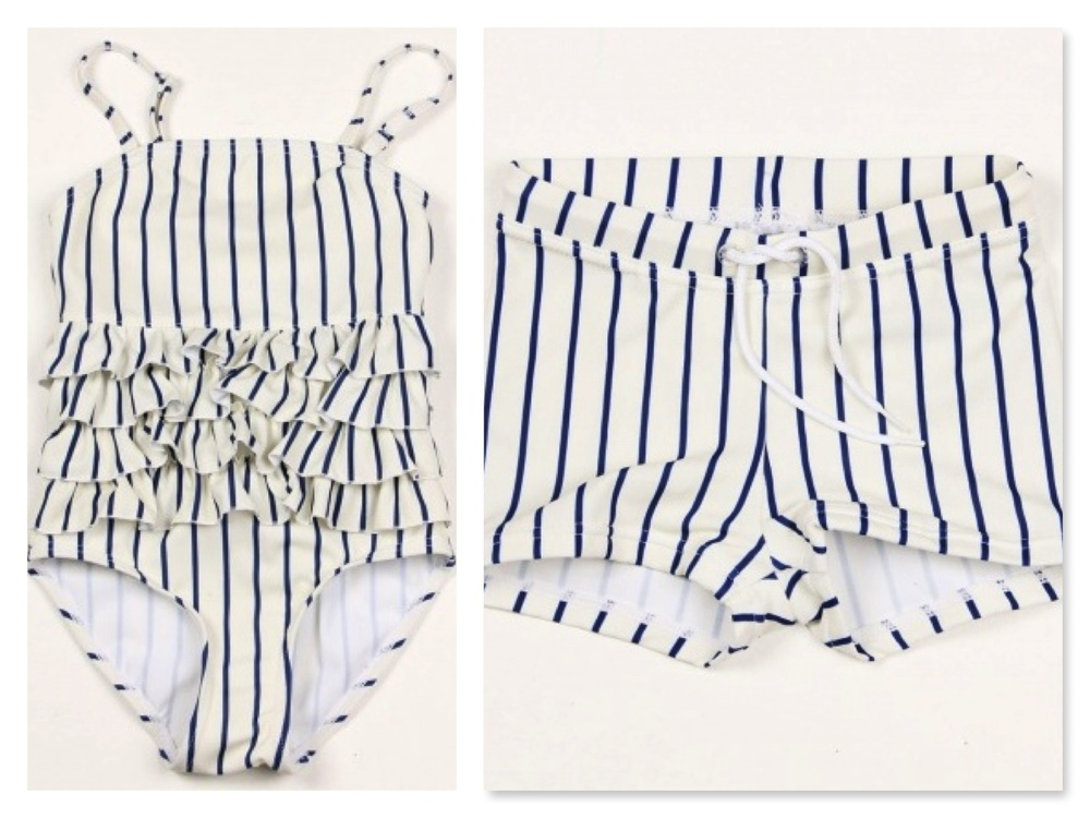 Mini Rodini girls FRILL SWIMSUIT BLUE with gorgeous frills at front and back- RED pictured above ($45.00) and boys STRIPE SWIM PANTS BLUE- RED pictured above ($29.00).