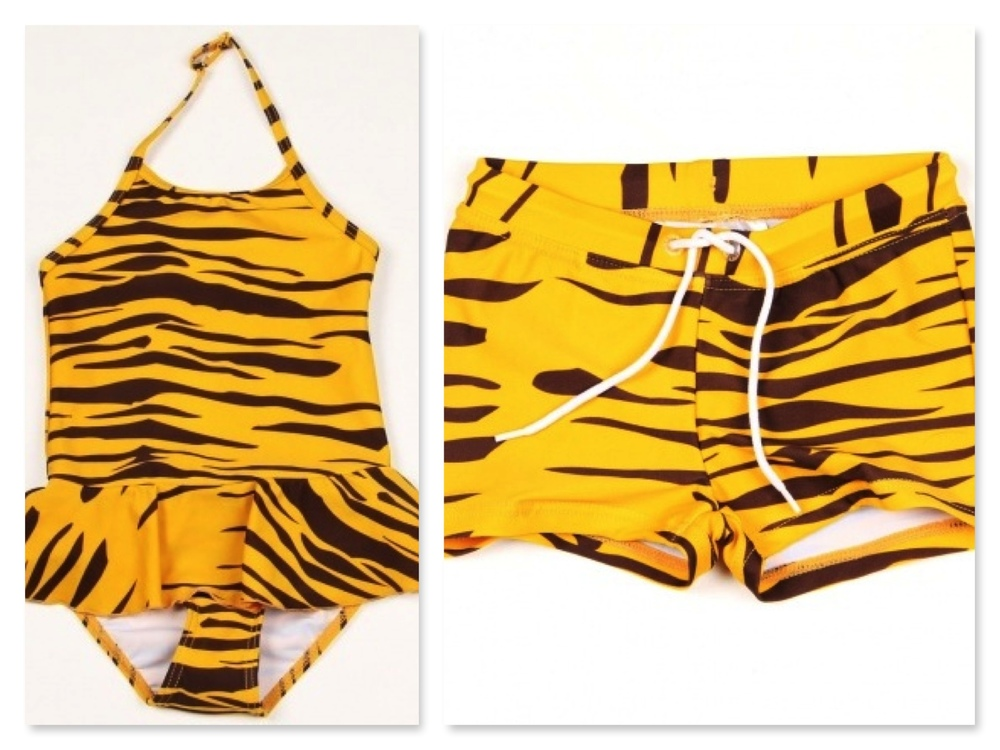 Mini Rodini girls  TIGER SWIMSUIT  in wild tiger print with frill at waist and boys  TIGER SWIM PANTS