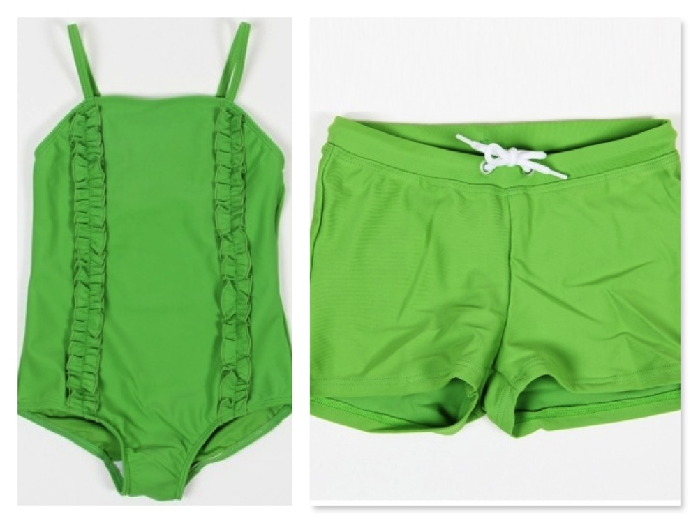 Mini Rodini girls  SIRMIONE SWIMSUIT GREEN  with two frills at front and boys  SWIM PANTS GREEN