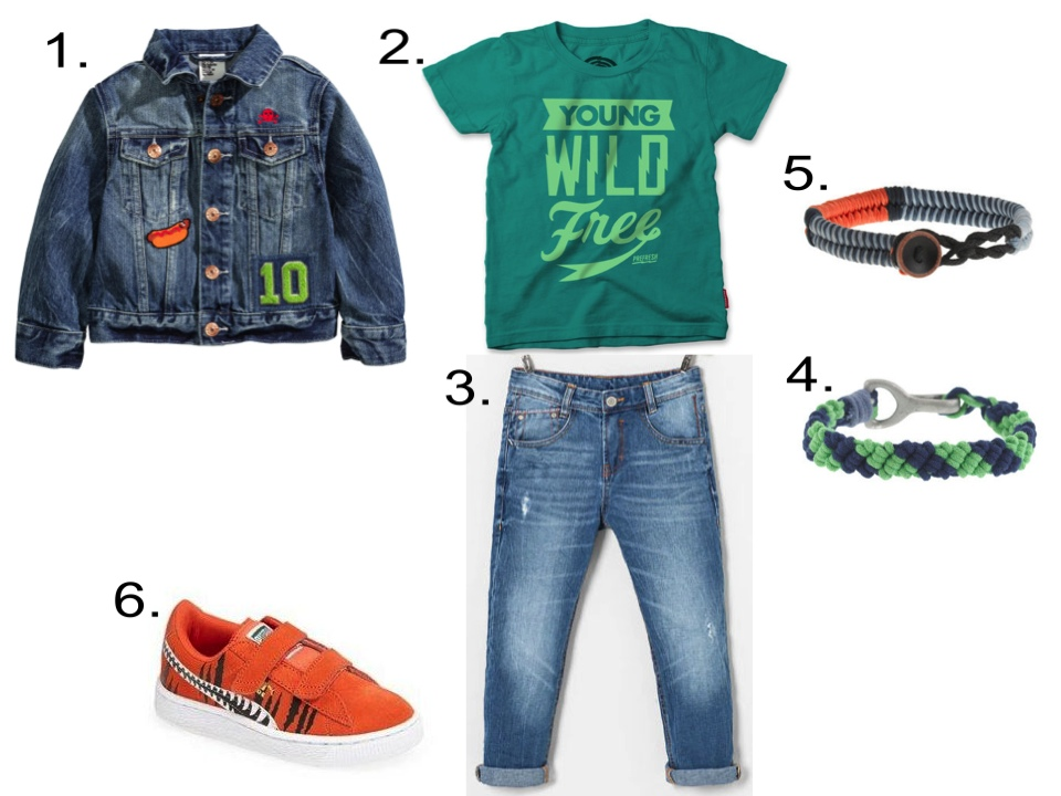 This H&M Denim Jacket looks cute for your little guy worn with a Statement Graphic T-Shirt, Denim Jeans,Rope Bracelets, and Comfy Sneakers.  1.  H&M Denim Jacket |2.  Prefresh YOUNG WILD FREE TEE |3.  Zara LOW RISE JEANS WITH CONTRASTING SEAMS |4.  J.Crew KIDS' WOVEN BRACELET  |5.  J.Crew KIDS' WAXED CORD BRACELET |6. PUMA 'Chemical Comic' Suede Sneaker