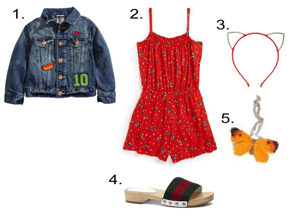 This H&M Denim Jacket looks cute for your little princess worn with an Allover Floral Print Romper, Rhinestone Cat Ear Headband, Crochet Butterfly Bracelet, and Wooden Clog Sandals. 1. H&M Denim Jacket $24.95  2.'Mia' Romper (Big Girls) @ Nordstrom $48.00  3. Dani's Choice RHINESTONE CAT EAR CANDY COLOR HEADBAND$13.00  4.Gucci Girl's Signature Web Sandals @ Saks Fifth Avenue $195.00  5. Oeuf HAND CROCHET ALPACA BUTTERFLY BRACELET $30.00