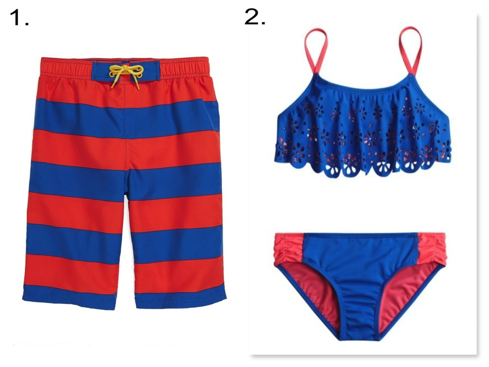 Your little ones will look cute together in these vibrant color aquatic blue & bright red fun Swimsuits. 1. Tucker + Tate 'Maximus' Swim Trunks | 2. Justice Cutout Flounce Bikini Swimsuit