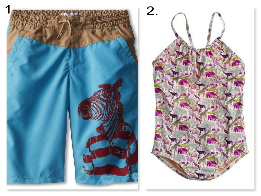 Your little ones will love these cool animal graphic and allover print Swimsuits.  Zoo animals are trending for kids for spring, and I can see why, these swimsuits are rwaring fun! 1. Little Marc Jacobs Twill Printed Surfer Short $64.00 and 2. J.Crew GIRLS' LIBERTY TANK IN QUEUE FOR THE ZOO $78.00