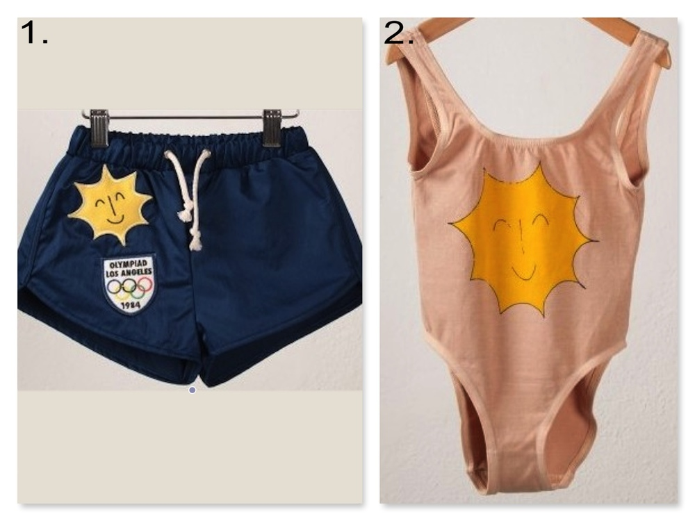 Your little ones will love these fun vintage looking graphic swimsuits, and I love them because they coordinate without being exact same. 1.  Bobo Choses SWIMSUIT BLUE $48.42 and 2. Bobo choses SWIMSUIT GIRL SUNSHINE $48.42