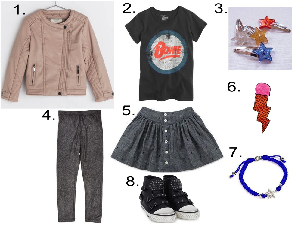 A cute outfit for your future Rock Star!  1.  Zara FAUX LEATHER JACKET  | 2.  GIRLS' BRAVADO™ ROCK TEE FOR CREWCUTS  | 3.  ATELiER ATSUYO ET AKiKO HAiR PiN  | 4.  IMOGA Alyssa Leggings  | 5.  Ralph Lauren Girls Skull Chambray Skirt  | 6.  Tattly ICE CREAM BOLT Temporary Tattoo  | 7.  Rolf Bleu Girl's Aubrey Star Bracelet  | 8.  Ash Shoes Leather Stud Buckle High Tops