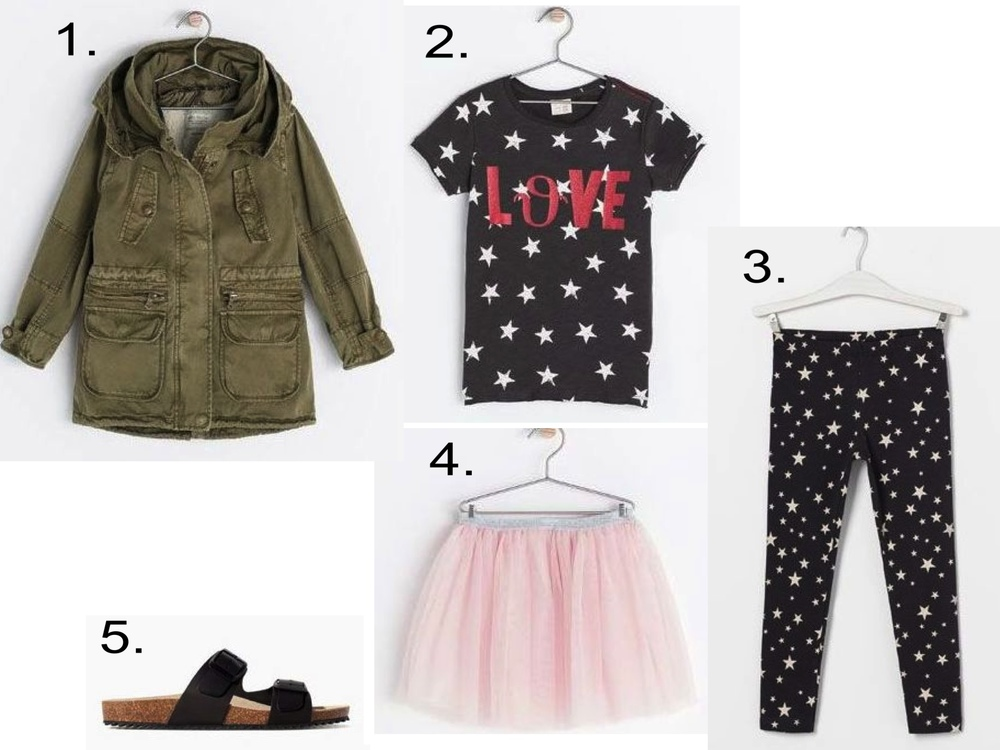 "Seeing Stars... I love this Allover Star Print T-Shirt  with ""Love"" graphic worn with Allover Star Print Leggings, Tutu, Parka and Birkenstocks.  1.  COAT WITH DETACHABLE WAISTCOAT  