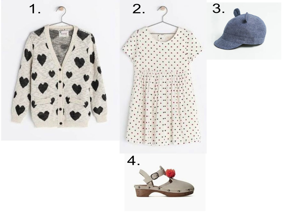 I Heart Hearts... This Allover Heart Print Dress is cute worn with an Oversize Allover Heart Print Sweater, Character Baseball Cap, and Clogs.  1.  PRINTED KNIT CARDIGAN  | 2.  HEART PRINT DRESS  | 3.  CAP WITH EARS  | 4.  LEATHER AND WOOD CLOG WITH POMPOM