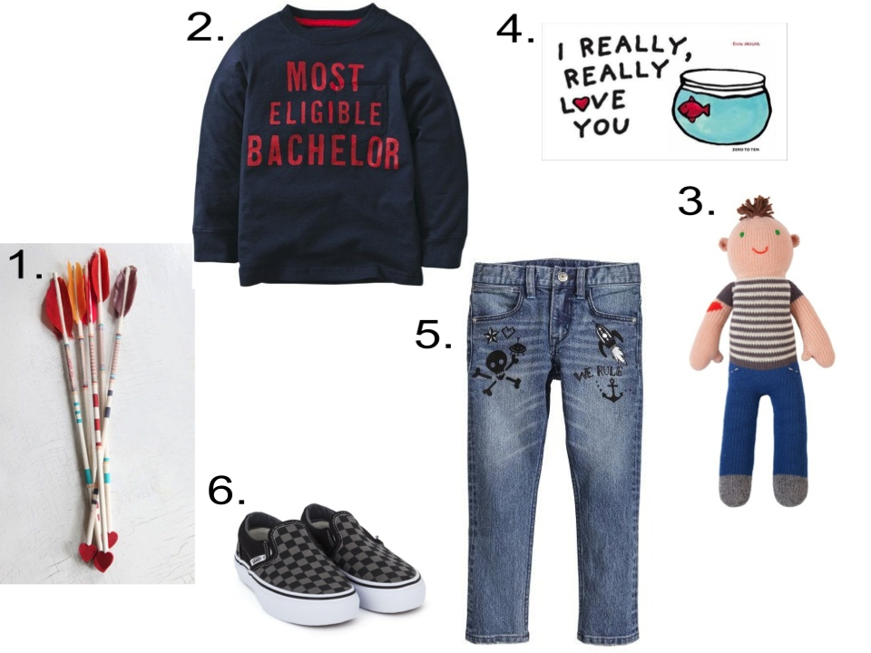 For your Funny Little Valentine, I Love Pairing a Statement Graphic T-Shirt with a Cool pair of Denim Doodle Jeans, Classic Checkerboard Slip On Vans, DIY Valentines Arrows, a Fun Board Book, and a Rocker Knit Doll!  1.  DIY Project: Vintage Arrow Valentine  | 2.  Carter's Valentine's Day Tee  | 3.  Blabla Otto the Rocker Doll  | 4.  I Really Really Love You Board Book by Emile Jadoul  | 5.  H&M Slim Jeans  | 6 .   Vans Black Checkerboard Classic Slip Ons