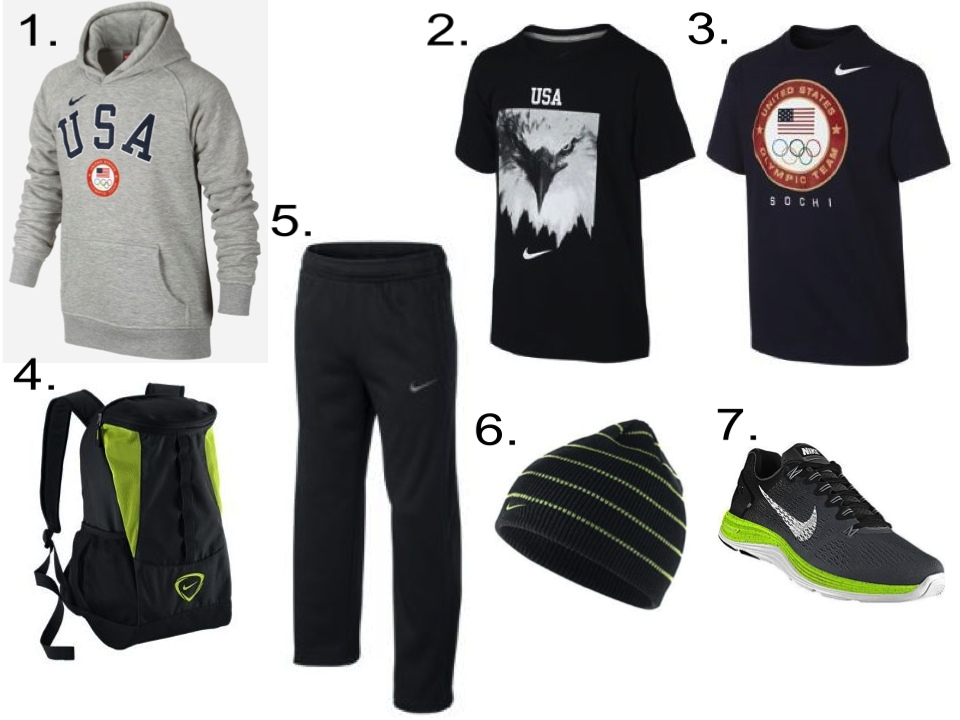 A Gold Medal Stand Worthy Outfit for your Future Olympian… (Boys) 1. Nike Boys' Hoodie $50   2. Nike Eagle Boys' T-Shirt $22   3. Nike Sochi Boys' T-Shirt $22   4. Nike Shield Compact Backpack $50    5. Nike KO 2.0 Fleece Boys' Training Pants $29.97   6. Nike Striped Boys' Knit Hat $15   7. Nike LunarGlide 5 iD (Customized) $145