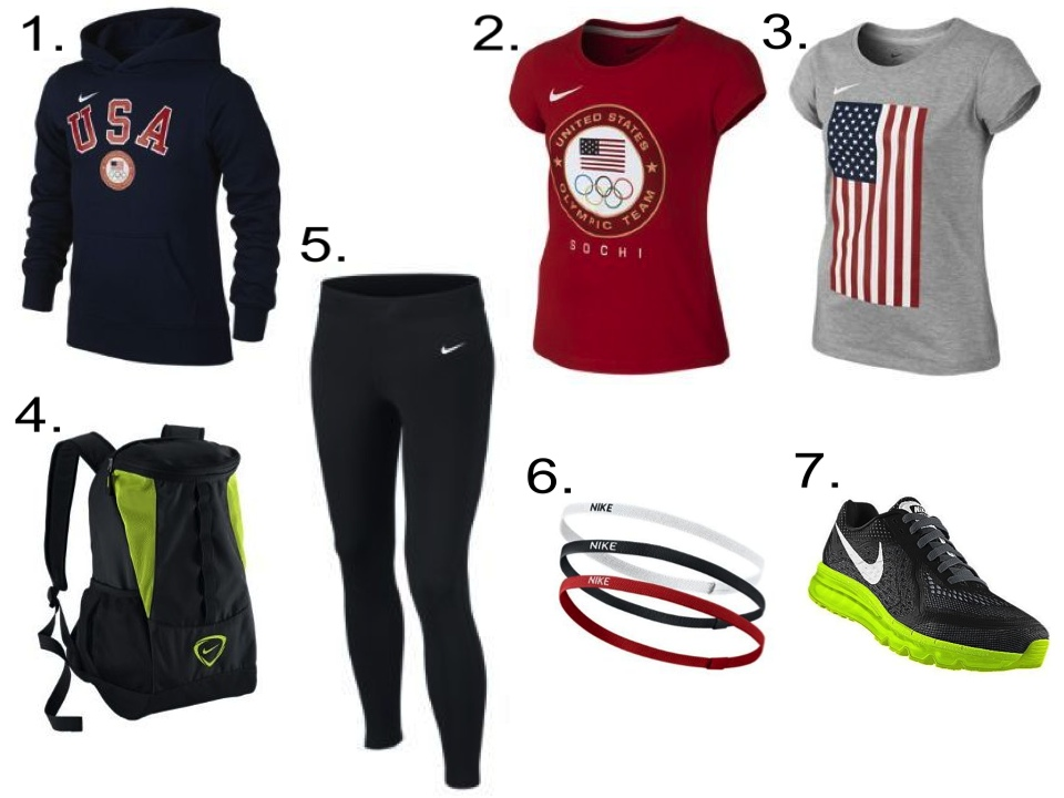 A Gold Medal Stand Worthy Outfit for your Future Olympian… (Girls) 1. Nike Fleece Pullover Girls' Hoodie $50   2. Nike Sochi Girls' T-Shirt $22   3.  Nike Flag Girls' T-Shirt $22   4. Nike Shield Compact Backpack $50   5. Nike Pro Hyperwarm Fitted Girls' Tights $29.97   6. Nike Elastic Hairbands (3 Pack) $10   7. Nike Air Max 2014 (Customized) $220