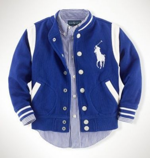 This Ralph Lauren Boys 2-7 Atlantic Terry Baseball Jacket ($69.50) is also available in Infant Boys ($59.50).  It is an adorable Baseball Jacket with collegiate-inspired stripes, felt verbiage and signature embroidered Big Pony at the left chest.