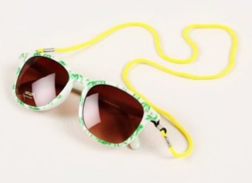 These Mini Rodini PALM SUNGLASSES LT. GREEN ($56..00) are super stylish in a light green colour filled with palm trees. They have a  brown shade lens with panda etch, which has excellent UV-protection (Category 3- UV protection 400).  Mini Rodini also have these uber cool Sunglasses in SOLID BEIGE COLOUR, BROWN JAGUAR PRINT, and ORANGE TIGER PRINT.
