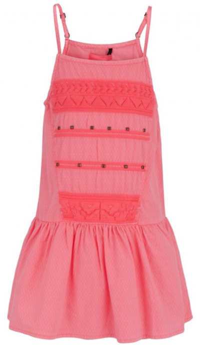 This  Ikks Pink Embroidered And Studded Dress  is a neon pink Dress that your little darling will be the envy of all her friends wearing. The Pretty Dress has adjustable straps for the perfect fit and a tonal embroidered design with gold studs on the front.