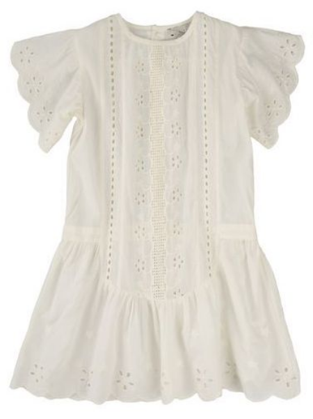 This  Stella McCartney ELIZA DRESS  is an organic cotton dress in cream with cut out embroidery and scalloped edges. This Pretty Eyelet Dress has a dainty vintage charm.