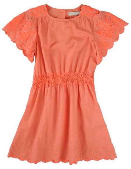This  Stella McCartney ANNABELLE DRESS  is in a vibrant coral color and is as stylish as can be. It has a smocked waistband, pretty gathers and neon orange embroidery which is a trend for spring and summer.