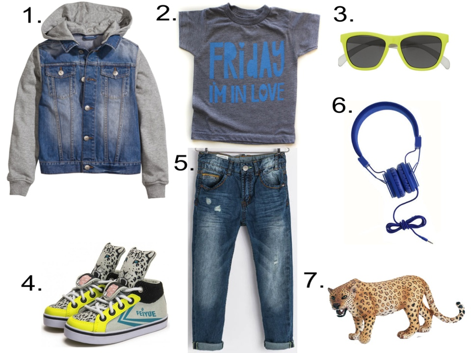 "Your Little Dude will look Cool in this Graphic T-Shirt worn with distressed regular fit jeans and the ""It Shoes of the Season"". 1. H&M Denim Jacket with Hood $29.95   2. MamaCasePrints Friday I'm in Love, gray shirt with blue ink @ Etsy $22.00   3. J.Crew KIDS' SUNNIES, neon yellow $24.50   4.  FEIYUE DELTA MID KID X MILK ON THE ROCK LEOPARD @ French Blossom $71.85   5. Zara REGULAR FIT JEANS $39.90   6. URBANEARS™ HEADPHONES, cobalt @ J.Crew $60.00 7. Schleich Leopard by Schleich @ amazon $6.99"