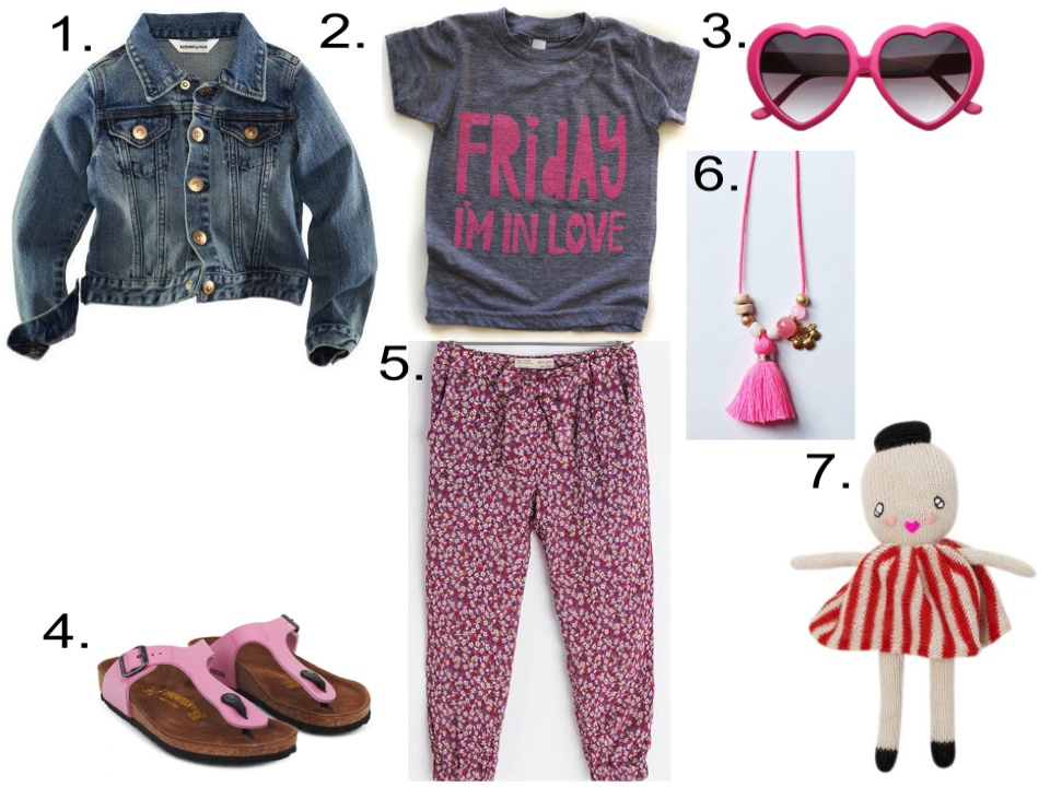 Your Little Princess will look Cool in this Graphic T-Shirt worn with floral print soft pants and birkenstocks. 1. H&M Denim Jacket $19.95   2. MamaCasePrints Friday I'm in Love, gray shirt with pink ink @ Etsy $22.00   3. GirlPROPS Lolita Heart Shaped Sunglasses, in Hot Pink @ amazon $5.53   4. Birkenstock Patent Pink Gizeh Sandals @ AlexandAlexa $60.50   5. Zara FLORAL PRINT TROUSERS $35.90   6. NECKLACE - CHERRY by Louise Misha @ French Blossom $20.53   7. LUCKYBOYSUNDAY - Miss White doll By LUCKYBOYSUNDAY @ The Kid Who $61.52