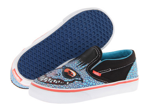 These Vans Kids Classic Slip-On in Reptilian Print (Toddler) ($28.99) also in (Little Kid/Big Kid) ($33.99) let your little one's feet do the talking in these slammin' Sneakers.  They have a cool Reptilian face wearing shades on the durable canvas upper, and are easy Slip-On style.