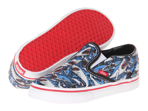 These Vans Kids Classic Slip-On Shark Attack Print (Toddler) ($28.99) also in (Little Kid/Big Kid) ($33.99) are called a classic for a reason.  Your little one will be in style wearing these awesomely cool Shark Attack Sneakers!  They have a durable canvas upper, and are Slip-On style for easy on and off for your little one.