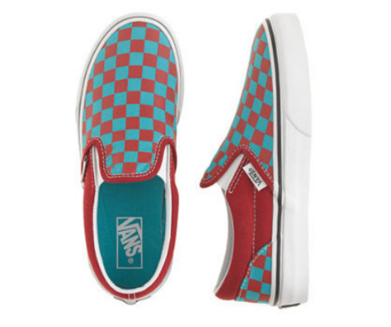 These KIDS' VANS® JUNIOR CHECKERBOARD SLIP-ONS IN RED at J.Crew ($24.99) are Vans® Classic Slip-On™ Shoes, which have been a regular on the skate scene since 1966. They are easy to slip on for your little one, and these checkered classics are sized down for the little guy, so they're perfect for practicing his ollie or just looking the part.