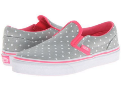 These Vans Kids Classic Slip-On (Little Kid/Big Kid) ($37.00) also in (Toddler) ($35.00) are the timeless style of the Vans® Classic Slip-On™ Sneakers.  They have durable canvas upper with neon pink lining and trim, and the Slip-On style creates an easy on and off for your little princess.