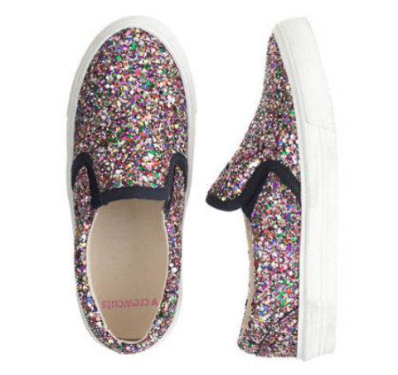 These Crewcuts GIRLS' GLITTER SLIP-ON SNEAKERS ($68.00) come in glitter pink multi (above) or neon pink glitter.  This sparkling pair of Slip-On Sneakers is the perfect mix of tomboy meets girly-girl for your little princess