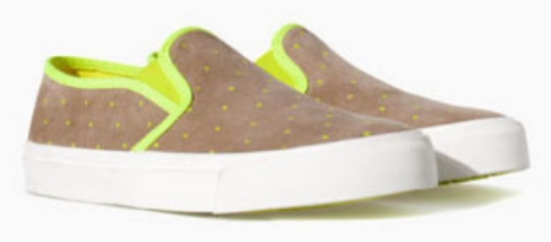 These Zara POLKA DOT SLIP-ON PLIMSOLL ($35.90) have mini polka dots and trim in a fun pop colour of lime green.  They are girls Slip-On Sneakers, but I think a boy could wear these too.