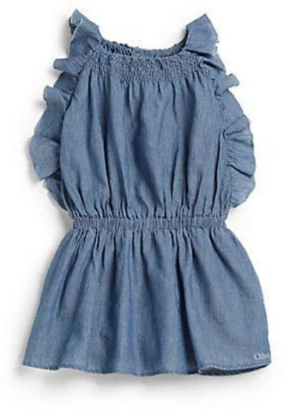 This Chloé Infant's Ruffled Chambray Dress ($154.00) from Saks Fifth Avenue is a carefree, wear-everyday or at any special occasion, Chambray Dress with soft Ruffles for a fluttery effect.