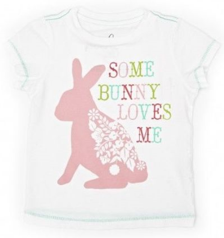 This  Peek... Some Bunny Loves Me Tee  is a great tee for the Easter Holiday.  It has contrasting teal thread at the neck, sleeve, and bottom hem and has a pretty floral bunny Graphic.