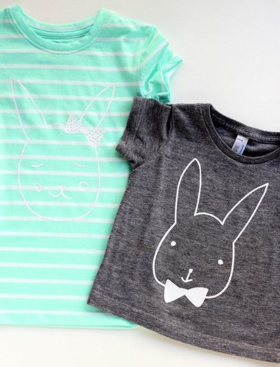 These DIY BUNNY TEES from Melanie from You Are My Fave (a cute blog you should check out :-) on Mini Style Blog (another cute blog you should check out :-) is a quick and easy DIY Easter Graphic T-Shirt. All you need is a T-Shirt (I love using a simple stripe T-Shirt), iron-on material or fabric paint, and the free bunny boy or girl download. This Easter Graphic T-Shirt makes me think... Hippity hoppity, Easter's on its way!