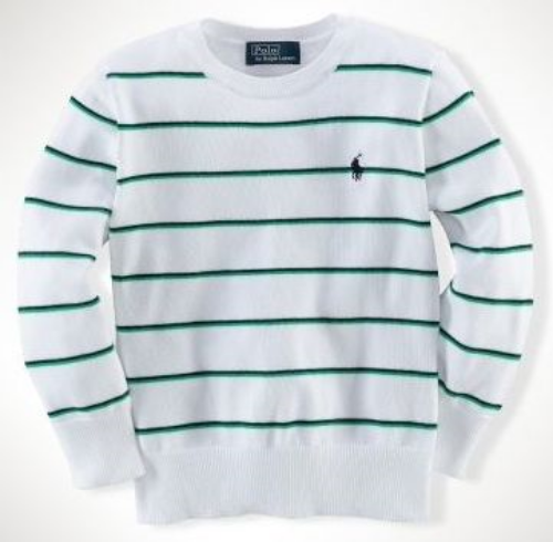 This  Ralph Lauren Cotton Crewneck Sweater  is an ultra-soft Sweater that is knit in cozy cotton and has a fun bold Striped pattern.