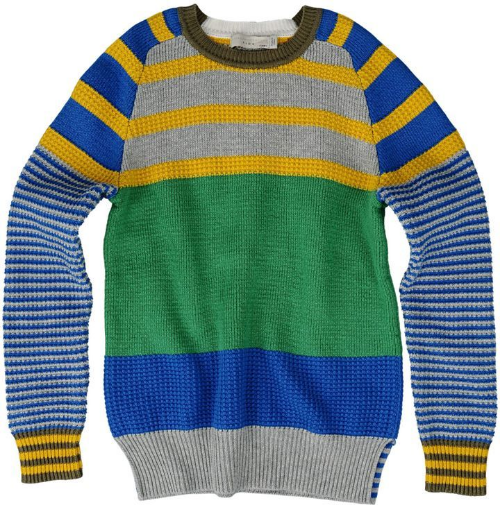 This  Stella McCartney WYATT JUMPER  is an organic cotton knit Sweater with fun multi-color Stripes, ribbed trims and a crew neck. This is a very cool Spring Striped Sweater.