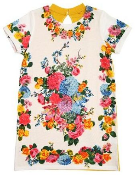This  Stella McCartney Kids Flower Print Tee Dress  has a delightful Floral print on the front, and is the perfect Floral Dress for spring. This fun design also has a sunshine yellow back and short sleeves with folded cuffs.