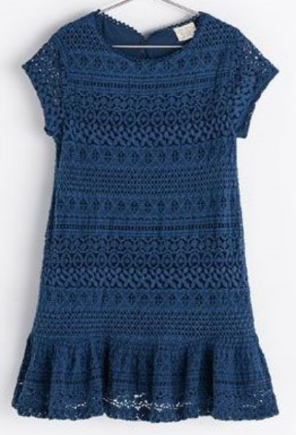 This Zara CROCHET DRESS is a beautiful drop waist, navy crochet Lace Dress.