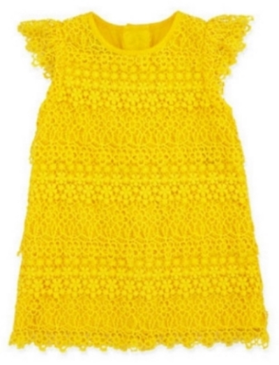 This  Ralph Lauren Lace Dress  is a tiered Lovely Lace Dress for your little bebe' with a round neckline, flutter sleeves, and shift silhouette.