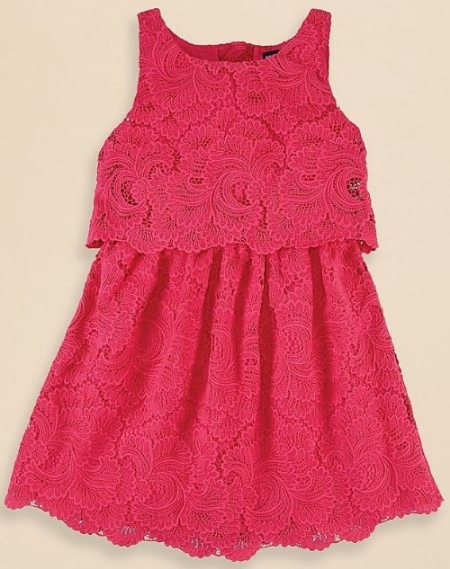 This  Ralph Lauren Lace Dress  is an adorably vibrant Lace Dress with a sleeveless silhouette and a delicate Lace overlay for a sweet look.