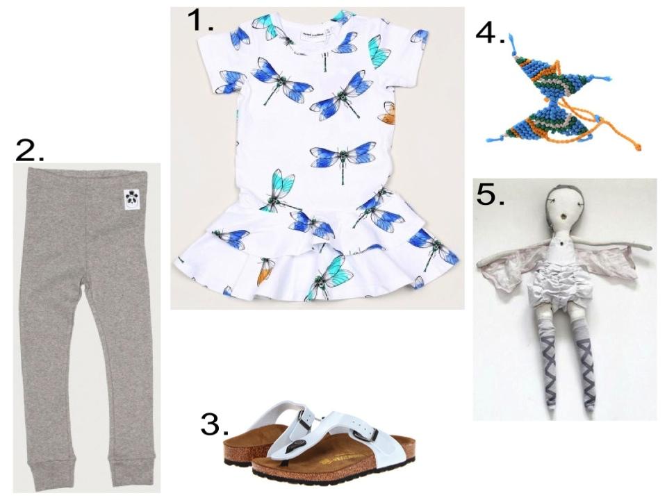 1. MINI RODINI DRAGONFLY DRESS  |2.  Mini Rodini BASIC LEGGING  |3. Birkenstock White Gizeh Sandal s |4. Peppercorn Kids Butterfly Bracelet/Anklet  |5.  Jess Brown Wovenplay Doll