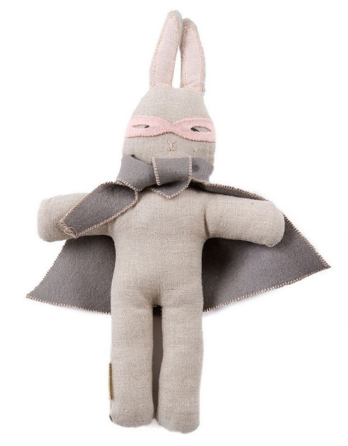 This Kathryn Davey Super Bunny ($45.00)  is made with Linen & filled with Bio degradable sustainable fiber filling.  This Super Bunny is available with a pink or grey cloak, making it the perfect Super Bunny for a boy or a girl.  Handcrafted in San Francisco with love.
