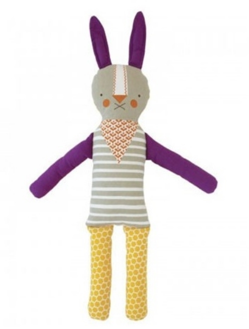 This Petit Collage FUNNY BUNNY Modern Doll ($36.00) is a bright graphic Bunny made out of linen-cotton canvas. Merry and lovable, this vintage inspired rag doll Bunny is destined to become a family heirloom.
