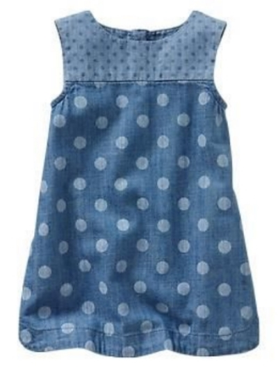 This  Gap Mix-dot chambray dress  is a premium lightweight chambray denim. It has cute color block detailing at the empire seam, curved hem, and allover fun dot print.