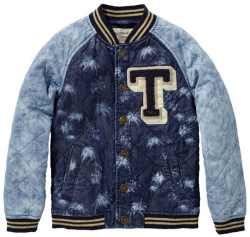 "This Scotch & Soda Kids - Boy's Bomber Jacket ($136.00) will have your little dude looking too cool for school wearing this Printed Bomber Jacket.  It has an allover palm tree print, ""T"" patch at left chest, ribbed cuffs, and washed raglan sleeves."