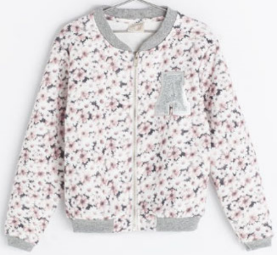 "This Zara PRINTED JACKET has a pretty daisy allover print, ""A"" patch at left chest, and rib trim at neck, cuffs and hem. I love this Printed Bomber Jacket so much I wish it came in my size, but I found this one from Zara I ordered for myself :-)"