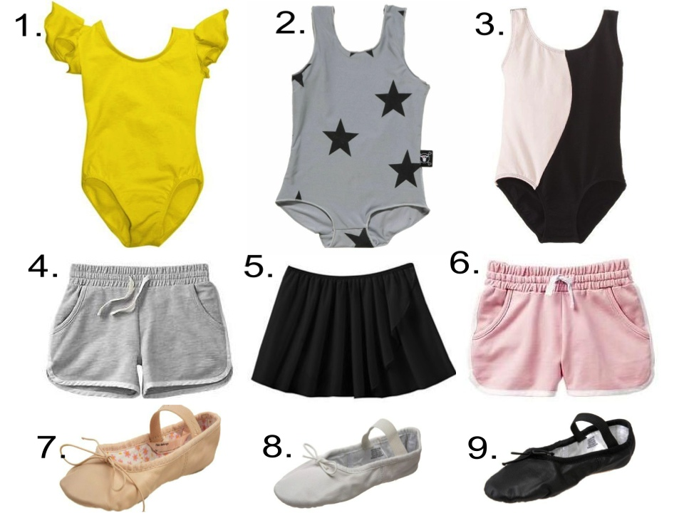 Leotards, Gym Shorts or Dance Skirt, & Ballet Slippers...  1.  DanceNwear Child Ruffle/Flutter Sleeve Leotard  | 2.  Nununu star swimsuit  | 3.  Danskin Girls Colorblock Leotard  | 4.  Gap Contrast-trim gym shorts  | 5.  Danskin Lurex Dance Skirt  | 6.  Gap Contrast-trim gym shorts  | 7.  Capezio Split Sole Daisy Ballet Shoe  | 8 &9.  Bloch Dance Dansoft Ballet Slipper