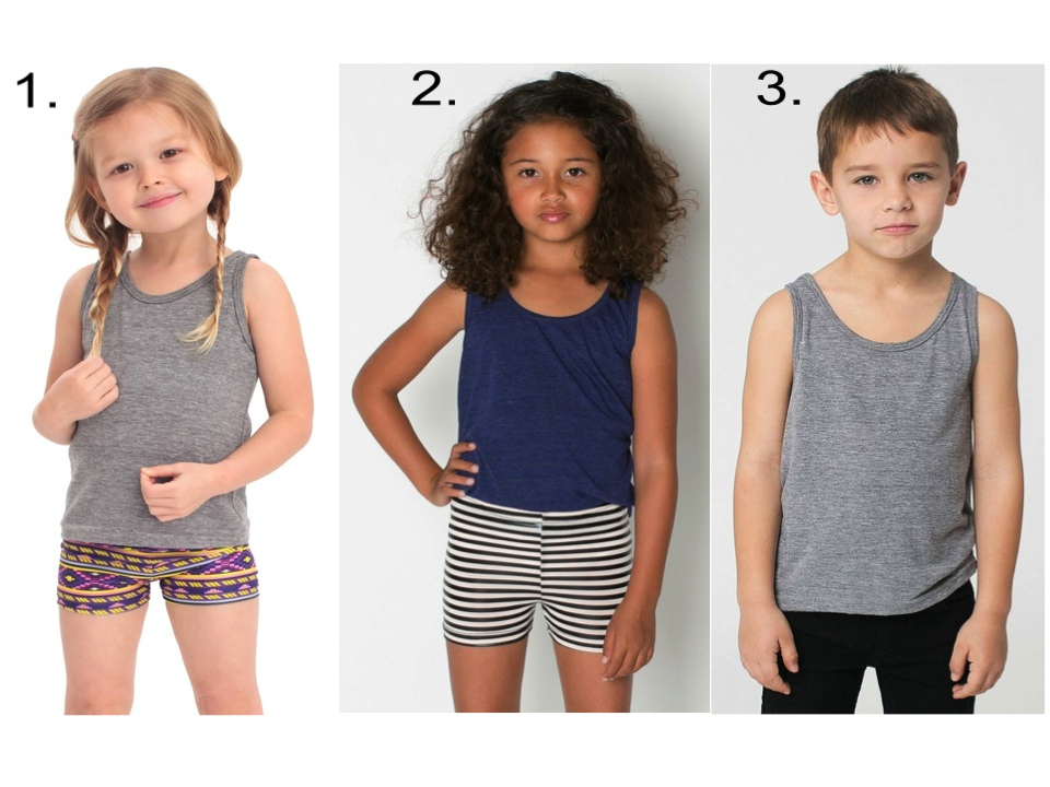 I love  American Apparel Basics  for my entire family, which are unisex and Made in the USA (Yay and Yay)! Their tank tops, cycle shorts, leggings, and sweatpants are perfect for your little one for gymnastics, ballet, dance or for playing in.  1 & 2.  Kids Tri-Blend Tank  &  Kids Printed Cycle Short  | 3.  Kids Tri-Blend Tank  &  Kids California Fleece Sweatpants