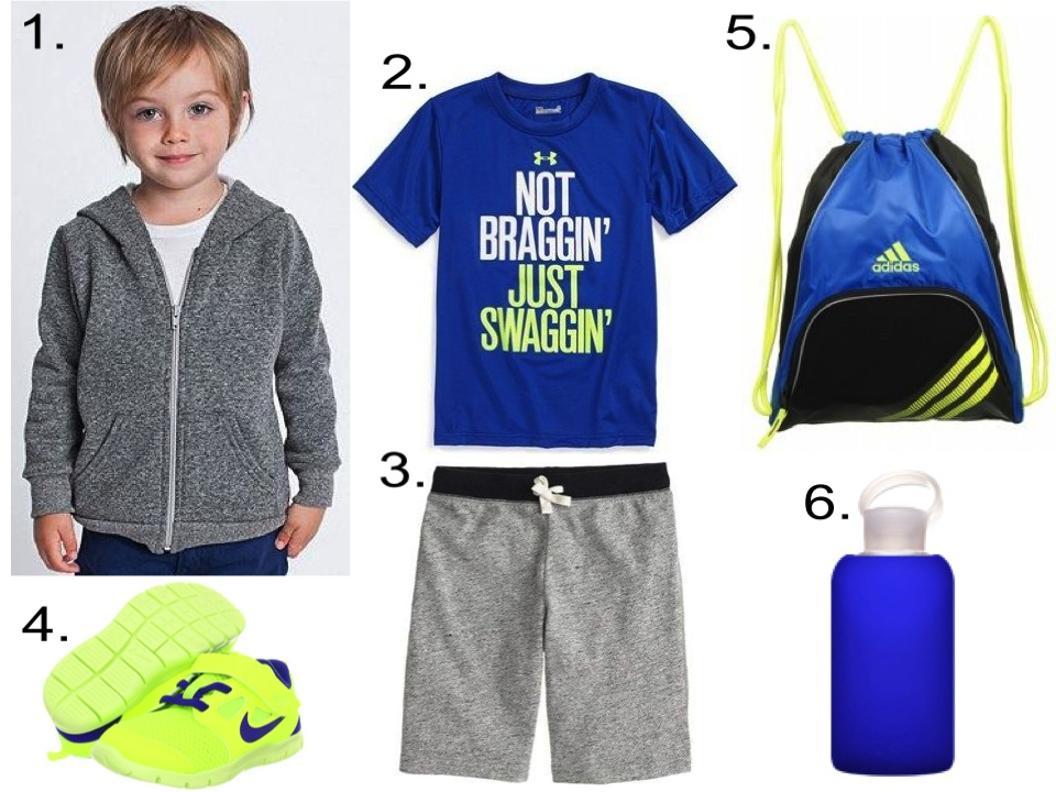 For your little dude, I love a heatgear t-shirt worn with sweatshorts. And don't forget a zip hoodie for layering, a gym sack for his stuff, a water bottle for hydration, and a pair of sneakers for coming and going to class.  1.  American Apparel Kids Salt & Pepper Zip Hoodie  | 2.  Under Armour 'Not Braggin' HeatGear® T-Shirt  | 3.  J.Crew BOYS' COOPER SWEATSHORT IN CONTRAST  | 4.  Nike Kids Free Run  | 5.  adidas Team Speed Sackpack  | 6.  BKR Water Bottle