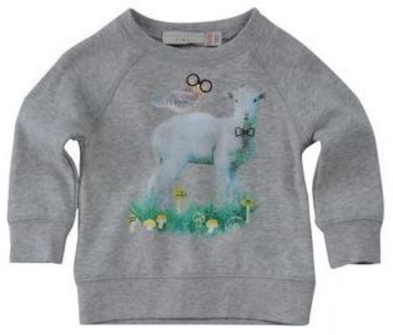 This  STELLA McCARTNEY KIDS Sweatshirt  is a soft organic cotton fleece sweatshirt with a cute lamb wearing a bow and owl in glasses graphic.
