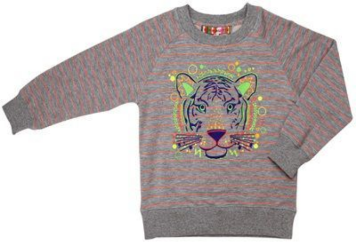 This  ANNE KURRIS EMBROIDERED SWEATSHIRT  has a crew neck, raglan sleeve, ribbed knit edging, fun stripe, and tiger Graphic embroidery on front.