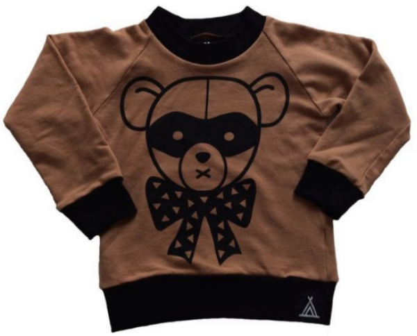 This  Quinn + Fox BANDIT BEAR Sweatshirt  is a 100% organic thick french terry Sweatshirt printed with a black large Bandit Bear Graphic in eco-friendly ink (GLOBAL ARTISTRY BY: J. MARTINEZ @DIRTYUNIFORM).